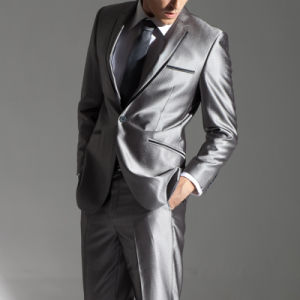 Custom Wedding Party Silver Grey Slim Fit Men Suit pictures & photos