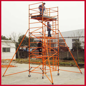 220kv Yellow 10m Fiberglass Double-Wide Scaffolding with Casters pictures & photos