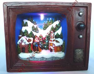 Polyresin Santa Coming to The Town in TV Box W/Fibre Optic and Music