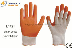 T/C Shell Latex Coated Safety Work Glove (L1421) pictures & photos