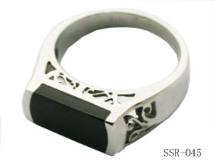 Black Stone Stainless Steel Ring SSR-045