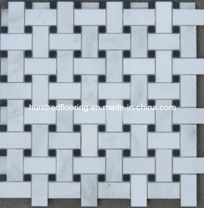 Basketwave Mosaic Tile White and Black Marble Mosaic (HSM108) pictures & photos