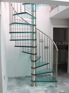 Modern Steel Stringer Wood Tread Helical Staircase pictures & photos