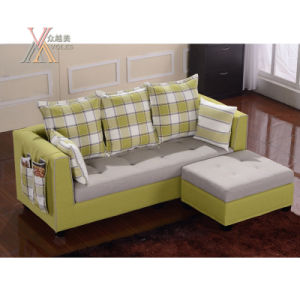 Green Fabric Sofa With Checked Pattern A13
