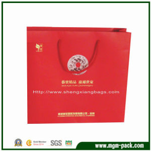 High Quality OEM Red Rectangle Paper Gift Handbag pictures & photos