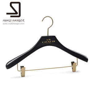 Black Wooden Hanger With Clips And Bar