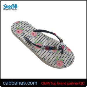 13fc388b79cb China Women′s Embellished Flip Flops with Floral Printing - China ...