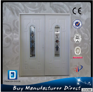 Mom and Son Double Hung Steel Decorated Toughened Glass Door pictures & photos