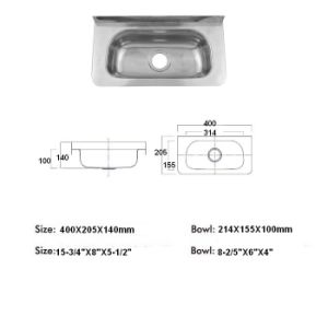 China Hand Washing Sink Wash Basin Stainless Steel Utility Sink