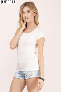 Back Lace Stitching Hollow Round Neck Short-Sleeved T-Shirt Women′s Strap Shirt pictures & photos