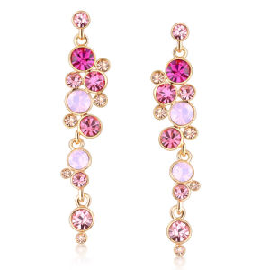 Hot Ing Pink Color Stone Crystal Long Drop Earring