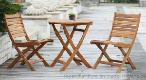 Outdoor Garden Restaurant Furniture Set Wooden Foldable Table and Chairs