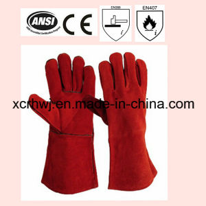 14′′high Quality Cow Split Leather Welding Gloves with Kevlar Stitching and Socket Lining, Leather Working Gloves Manufacturer, Welding Safety Gloves for Welder