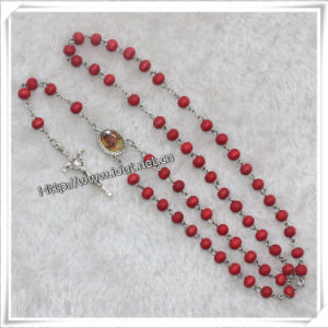 Red Scented Wooden Beads Rosary with Picture (IO-cr324) pictures & photos