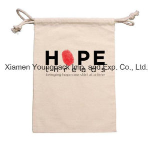 Promotional Custom Imprinted Small 100% Natural Cotton Canvas Drawstring Pouch pictures & photos