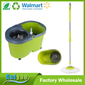 PP & Stainless Steel Retractable Handle Single Spin Mop with Round Bucket pictures & photos