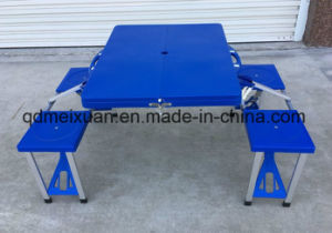 Export Supermarkets Ryohin Keikaku Pure PP Plastic Table Conjoined Folding Outdoor Tourism Picnic Table Courtyard Leisure (M-X3585) pictures & photos