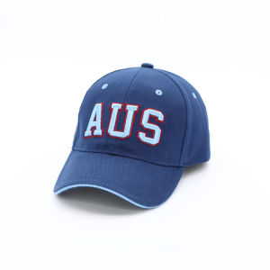 Souvenir Wholesale Australia Twill Cotton 6 Panel Blue Baseball Cap with Embroidery