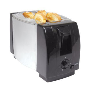 2-Slice Toaster with Metal Sides/PP Ends / Black (WT-2001AB)