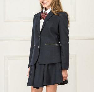 Junior School Girls England Style Grey Colors High Grade Coat Jacket and Skirt