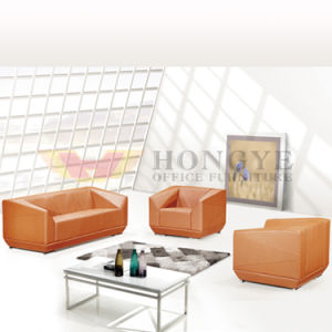 Italian Design Model Gergeous Orange Color Office Leather Sofa for Office Furiture pictures & photos