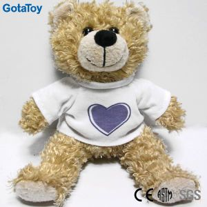 Factory Price Custom Beige Color Teddy Bear Soft Toy with White Cotton T Shirt