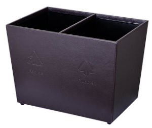 Rectangle Shaped Coffee Leatherette Cover Waste Bin pictures & photos