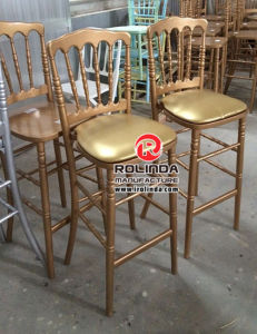 Wooden Napoleon Bar Stool for Sale with Cushions pictures & photos