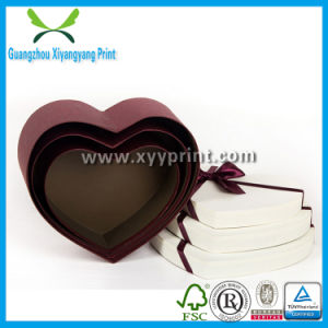 Fancy Heart Shape Paper Cardboard Chocolate Gift Box with Clear Lid pictures & photos