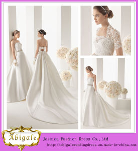 2014 New Fashion Simple Ivory Ball Gown Strapless Chapel Train Satin Lace Latest Bridal Wedding Gowns Pictures (MN1035)