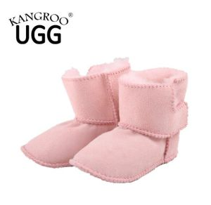 Genuine Sheepskin Baby Toddler Shoes with Soft Sole in Pink Color