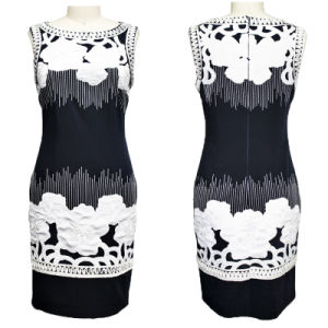 Elegant White Flowers Navy Blue Dress for Ladies (1-249-635)
