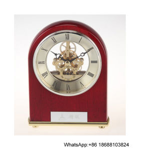 Rounded Arched Design Piano Wood Skeleton Mantel Desk Clock
