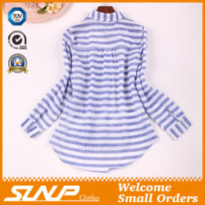 Good Quliaty Cotton Fashion Stripe T- Shirt with Buttons