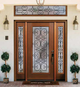 Exceptionnel Ultra Clear Art Glass Exterior Front Main Entrance Door With Sidelight