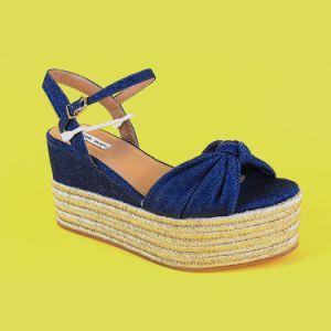 d31e75e16ed Navy Blue Espadrille High Wedge Shoes Platform Flatform Espadrille Wedges