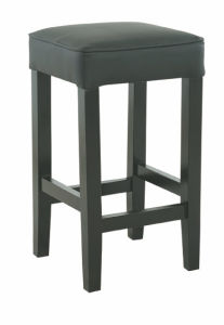 Fabric Gray High Barstool with Wood Frame