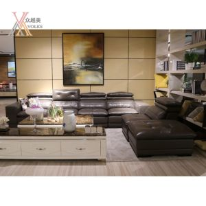 Modern Leather Sofa with Adjustable Headrest (1620B)