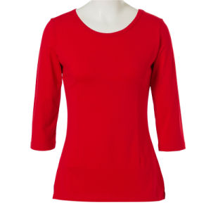 Dropship Clothing Cotton Plain Color Red T Shirt for Ladies pictures & photos