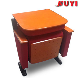 Fixed on The Floor Collapsible Backrest Fire Proof Fabric Solid Wood Upgrade Lecture Meeting Folding Writing Table Chair pictures & photos