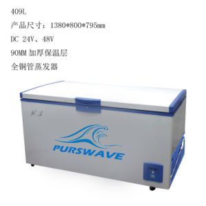Purswave 409L DC 12V24V Chest Freezer Solar Refrigerator 90mm Foam -20 Degree Celsius Electronic Thermostate Ice Cream Freezing Outdoor Freezer Battery Freezer pictures & photos