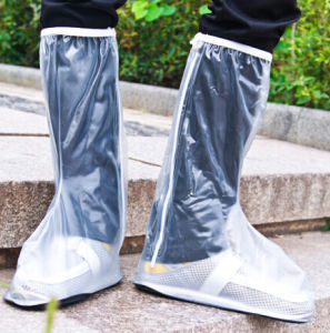 PE Waterproof Rain Shoes Cover with Rubber Bottom