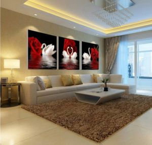 3 Piece Modern Wall Art Printed Painting Swan Room Decor Framed Picture Painted On