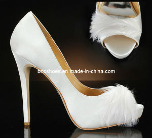 Newest Wedding Shoes Bridal High Heel with Feather (style no. WE076)