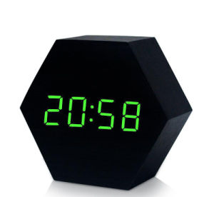Digital Thermometer Wooden LED Alarm Clock Backlight Voice Control Wood  Retro Glow Clock Desktop Table Luminous Alarm Clocks