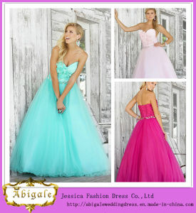 New Elegant Ball Gown Tulle Sequins Flower Beaded Lace up Back Sweetheart Long Puffy Prom Dresses Yj0075