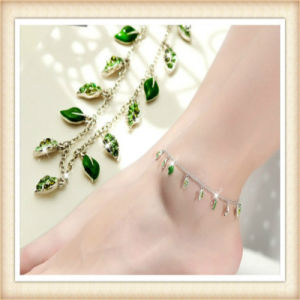 New Design Leaves Glass Stones Fashion Anklets