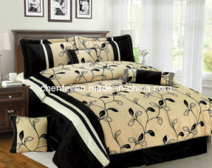 7PCS Double&King Size Flocking Comforter Set Bedding