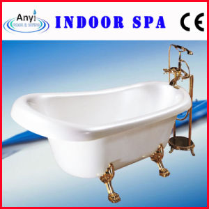 Luxury White Bathtub with Metal Shower (AT-017)