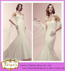 New Fashion Floor Length Sweetheart Neck Mermaid Beaded Wedding Gowns for Sale with Scarf (WD03)